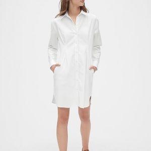 NWT Gap White Pleated Oxford Shirt Dress Petite S